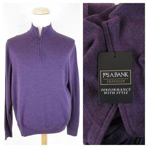 Jos. A Bank Purple Merino Wool Quarter Zip Sweater